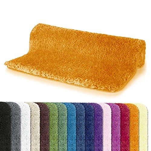 Spirella Badteppich Badematte Duschvorleger Mikrofaser Hochflor | flauschig | rutschhemmend | geeignet für Fußbodenheizung | 70x120 cm | Orange