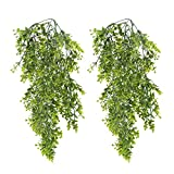 HUAESIN 2pcs Kunstpflanze Hängend Künstlich Pflanzen Hängepflanze Plastik Unechte Buchsbaum Künstliche Grünpflanzen Plastikpflanzen Hängend für Balkon Außen Innen Topf Wand Garten