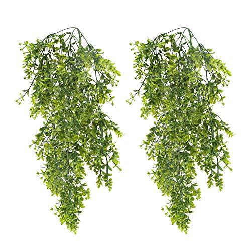 HUAESIN 2pcs Künstliche Hängepflanze Buchsbaum Kunstpflanze Hängend Künstliche Pflanzen Unechte Plastikpflanzen Künstliche Grünpflanzen für Balkon Außen Innen Topf Wand Garten