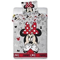 Ropa de cama Disney Minnie Mouse Deluxe–Almohada: 70x 90cm y funda nórdica: 140x 200cm, 100% algodón