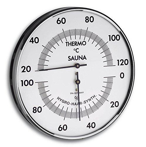 TFA SAUNA Thermometer THERMO Hygrometer silber-weiß 401032