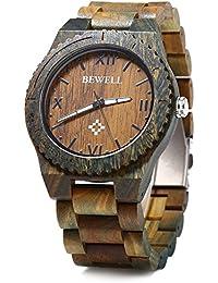 Leopard Shop Bewell ZS–w065a Madera Reloj de cuarzo Hombre Reloj de pulsera números romanos Báscula verawood