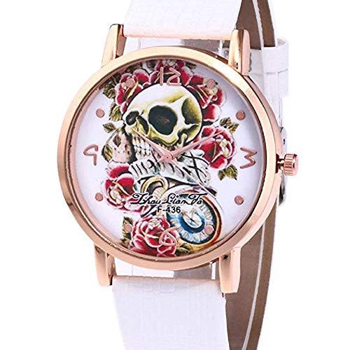 Frauen Uhren,Moeavan Frauen Totenkopf Uhren Ausverkauf Damen Uhren Einzigartige Totenkopf Weibliche Uhren im Angebot Günstige Leder Armbanduhr Neu (Weiß)