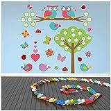 azutura Eulenbaum Wandtattoo Set Vögel Garten Wand Sticker Mädchen Kinderzimmer Dekor Erhältlich in 8 Größen X-Groß Digital