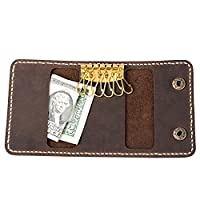 ANCICRAFT® Genuine Leather Key Case Card Holder Keychain Bag Wallet by Handcrafted Gift (Dark brown)