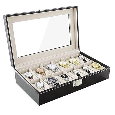Amzdeal® Coffret pour montres Présentoir à montre Noir Cuir PU boîtier rangement 12 montres