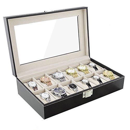 Amzdeal Verkaufsständer/Koffer/Box, für 12Uhren, Aufbewahrungsbox, für Schmuck und Zubehör, Geschenk für Herren (Schwarz)