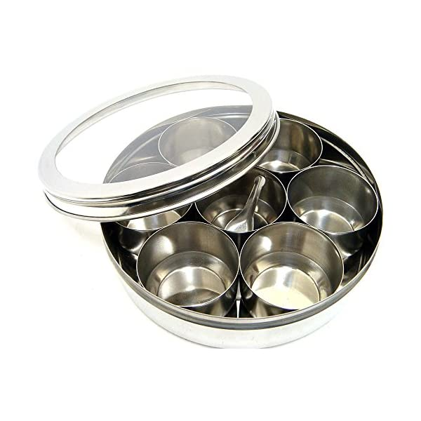 EVELYN LIVING Large Stainless Steel Indian 7 Spice Tin Box Tandoori Masala Dabba Spices Box Storage 1