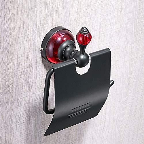 LifeX Persönlichkeit Schwarz Plus Rot Toilettenpapierhalter Mit Abdeckung, Wand Montiert, Raum Aluminium Bad-Accessoires Tissues Rollenspender Lagerregal, Farbe