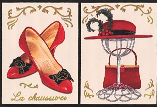 Chesapeake Vintage rote französische Mode - Schuhe Handtasche Hut Sonnenbrille Lippenstift Alabaster weißen Tapete Grenze Retro-Design, Roll 15' x 7''