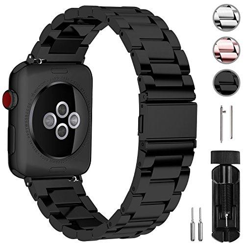 Fullmosa Kompatibel Apple Watch Armband 42mm, Rostfreier Edelstahl Watch Ersatzband für iWatch/Apple Watch Serie 3 Serie 2 Serie 1, 42mm Schwarz