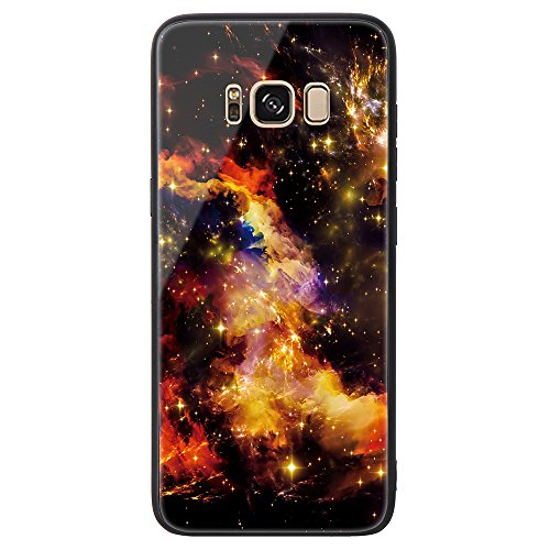 Galaxy S8 Tempered Glass Case,SUNWAY [Starry Sky][Scratch Resistant] 3 In 1 Ultra-Thin PC Hard Cover 360 Degree Protection Slim Case For Samsung Galaxy S8 - Yellow