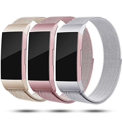 Onedream Kompatibel für Fitbit Charge3 Charge 3 Armband Damen Metall Silber Rosegold Champagner