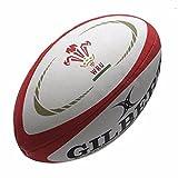 GILBERT-Mini Gales International Réplica Balón de Rugby, color blanco, rojo y dorado