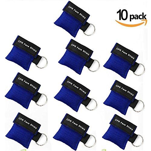 GuangmingXi 10 Stücke CPR Maske Schlüsselbund Ring Emergency Kit Rescue Face Shields mit Einwegventil Breathing Barrier für Erste Hilfe oder AED Training, Erwachsene und Säugling, einfach zu tragen (Tragen Training)