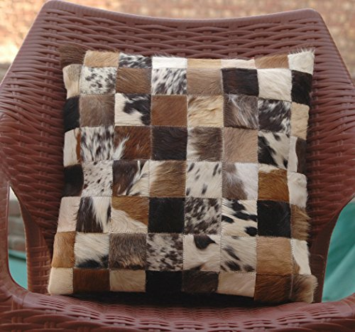 Celestial Leather Limited Natural Cowhide Luxurious Hair On Cushion/Pillow Cover (15''x 15'') A8439 (Celestial Decor Home)