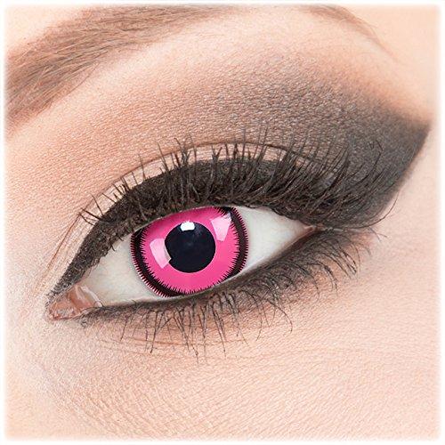 Farbige rosa Crazy Fun Kontaktlinsen 1 Paar 'Pink Lunatic' mit Kombilösung (60ml) + Behälter - Topqualität von 'Evil Lens' zu Fasching Karneval Halloween ohne Stärke