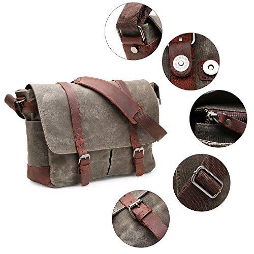 Messenger Bag H-andybag Gewachste Leinwand Unisex Crossbody Arbeiten Schultertasche Passt 15 Zoll Laptop (Khaki) Armee grün