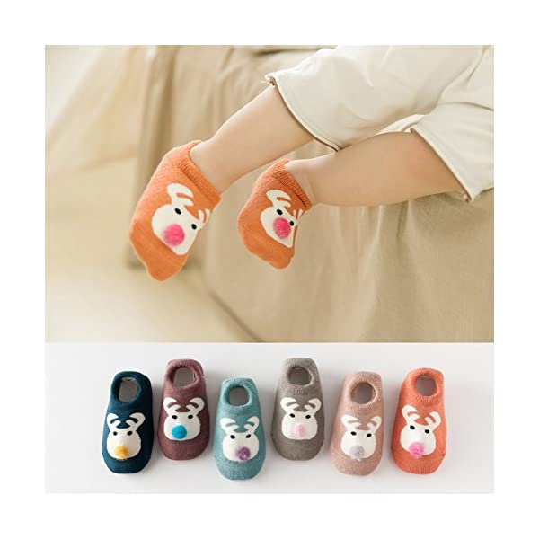 Estwell 6 Pares Calcetines Bebé Antideslizante Infantil Niños Niñas Invierno Grueso Calcetines Animados 4