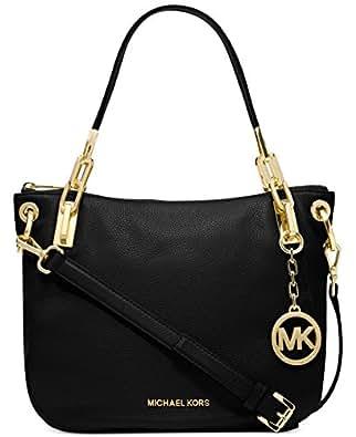 Michael Kors Brooke Medium Black Leather Shoulder Tote 30H3Goke2L New
