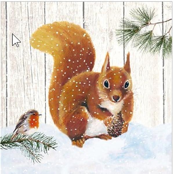 4 Simple papier DECOUPIS serviettes oiseau hiver Canneberge Noël neige design-X29