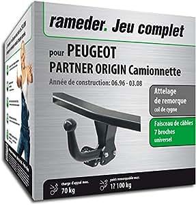 Rameder Attelage démontable avec Outil pour Peugeot Partner Origin Camionnette + Faisceau 7 Broches (128834-01911-3-FR)