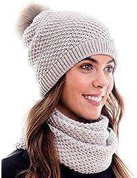 Hilltop Winter Kombiset aus Schal und passender Strickmütze ( Beanie mit Pompon ) in 100% Baumwolle