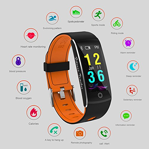 Fitness Tracker Smart Watch 4 Sports Mode Heart Rate Monitor IP68 Waterproof Activity Health Tracker Sleep Blood Pressure Oxygen Monitor CalorieStep Counter Smart Wristband For IOS Android Yellow