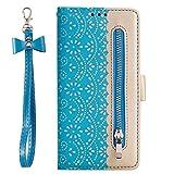 Vemos Samsung Galaxy S6 Reißverschluss Brieftasche Hülle, Luxus Spitze Blumen Motiv Premium PU Leder Geldbörse Handytasche Handy Hülle mit Handschlaufe Kartenfächer Magnet Klapphülle, Blau -