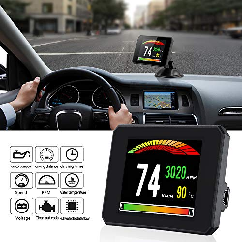 Swonuk P16 HUD Display OBD2 EUOBD LCD Digital Computer MPH/KMH RPM Water Temperature Voltage Single Mileage Scanner Diagnostic Tool Speedometer/Fuel Consumption/Clear The Fault Code