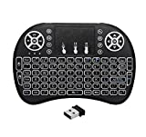 dingsheng Fern Mini Wireless Keyboard, i8 plus 2,4 GHz Portable 3 Farbe Hintergrundbeleuchtung Wireless Keyboard mit Touchpad Maus, Beste für Android Smart TV Box HTPC IPTV PC Pad XBOX (Schwarz)
