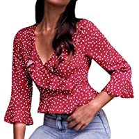 Damen Tops, Geili Frauen Sexy V-Ausschnitt Rüschen Hülse mit DREI Vierteln Bluse Shirt Damenmode Polka Dot Crop... preisvergleich bei billige-tabletten.eu