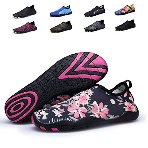 Bdawin Chaussures d'eau Femmes Poids léger Séchage Rapide Sport Aquatique Chaussons Pour Piscine et plage,VD01W Flower EU39