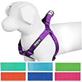 Blueberry Pet Step-in Harnesses, Chest Girth 50cm-65cm, S/M, Classic Solid Color Adjustable Dark Orchid Dog Harness, Matching Collar & Lead Available