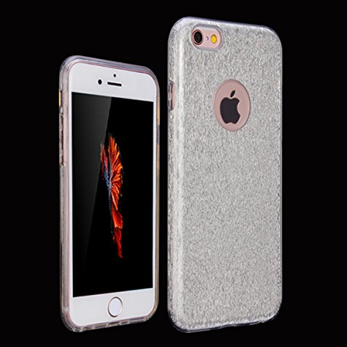Etsue Glitter Silikon Schutzhülle für iPhone 6 Plus/6S Plus TPU Case, Bunte Schmetterling Blume Plating TPU Case Sparkle Strass Silikon Crystal Clear Case Bling Soft Back Cover Glitzer Kirstall Glänze 3 in 1:Silver