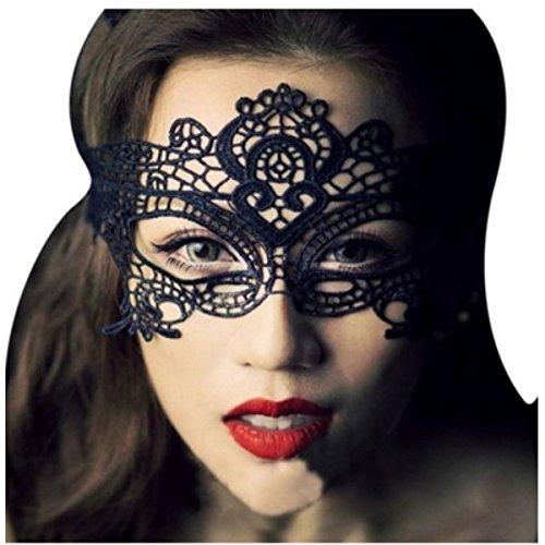 yansanido Sexy Charme Maske aus Spitze Damen Party Masquerade Augenmaske Party Ball Masquerade Fancy Kleid, 2pcs Eyemask black 01