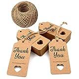 100 Stück Geschenkanhänger,Danke für das Feiern mit uns Tags, 9.5 * 4.5 CM braun hohlen Herzen Hochzeit Gunst Geschenkanhänger mit 30 M Jute Twine