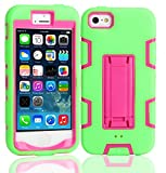 iPhone SE 5SE 5 5S Hülle Ultra dünn Case [Anti-Fingerabdruck] Casefirst TPU Schutz Flexible [Scratch] Silikon Schutzhülle [Stoßfest] Handyhülle Schmaler Cover - iPhone SE 5SE 5 5S Emerald Green + Hot Pink