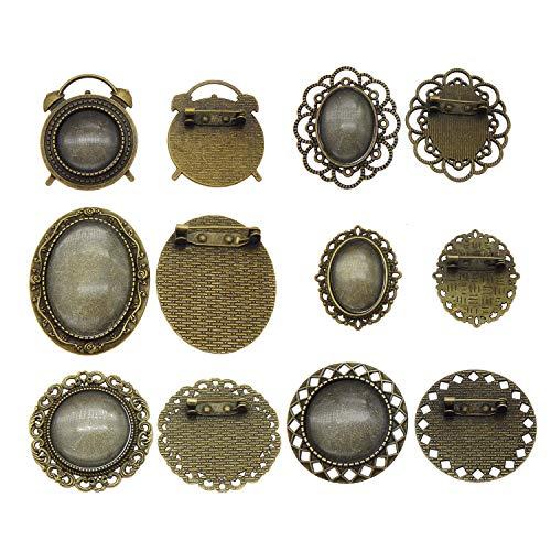 Julie Wang 6 Sets Gemischte Assorted Pin Brosche Lünette Rohlinge Bronze Einstellung Anhänger mit passenden Glascabochons