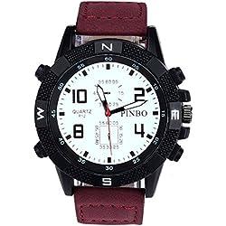 Men's Wrist Watch - PINBO Men's Large dial canvas Watch Band movement quartz Wrist Watch Red Band+White Dial