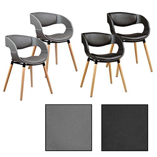 ESTEXO 2/4/6/8x Design - Esszimmerstuhl Modell Leif, Grau/Schwarz, Leder, Design, Küchenstuhl, Esszimmerstühle, Stuhl (2 Stück, Grau) (Grau Leder-stuhl Esszimmer)