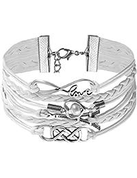 0168c44d9945 JewelryWe Pulsera Infinito Infinity Brazalete de Hilos y Cuero Trenzado