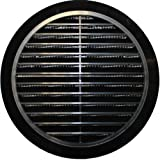 Grille d'aération Ø 100 / 110 /120 / 125 / 150mm, ronde, noire, plastique T36, avec moustiquaire.