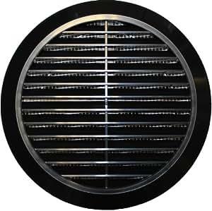grille d 39 a ration 100 mm 110 120 125 150 mm en plastique ronde avec moustiquaire noir t36. Black Bedroom Furniture Sets. Home Design Ideas