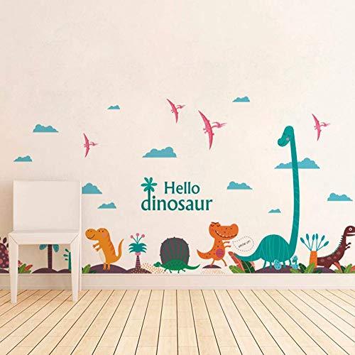 Cartoon bunte dinosaurier palm tree dekorative wandaufkleber für kinderzimmer kindergarten kinder aufkleber wandbild diy home pvc dekoration schlafzimmer wohnzimmer