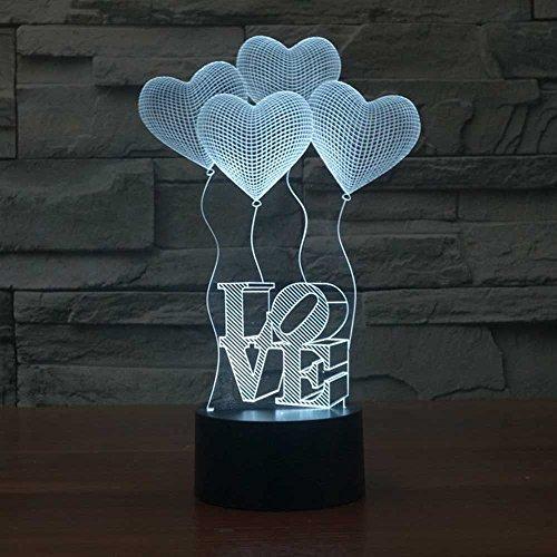 LED Nachtlicht,KINGCOO Magical 3D Visualisierung Amazing Optische Täuschung Touch Control Light 7 Farben ändern Schreibtischlampen für Kinderzimmer Home Decoration Best Geschenk (Love) - 5