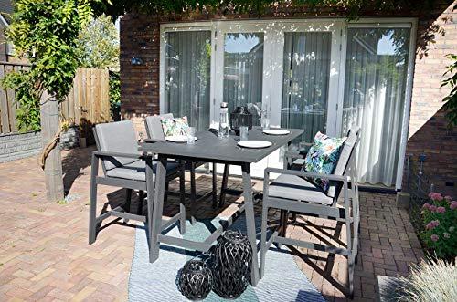 lifestyle4living Gartenmöbel-Set aus Aluminium in anthrazit, Barmöbel aus wetterfestem Metall, Ideal auch als Balkon-Stuhl und Terrassenstuhl, 5-TLG. 4 Stühle, 1 Tsich
