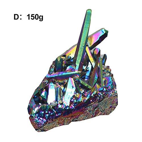 kaersishop natürliche Amethyst Crystal Cluster Proben, natürliche Titan beschichtet Rainbow Bergkristall Quarz Cluster Probe, Edelstein Probe Figur Home Decor