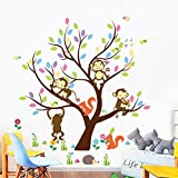ElecMotive Cartoon Forest Animal Monkey Owls Fox Rabbits Hedgehog Tree Swing Nursery Wall Stickers Wall Murals DIY Posters Vinyl Removable Art Wall Decals for Kids Girls Room Decoration 110 x 90 cm (monkey & squirre)