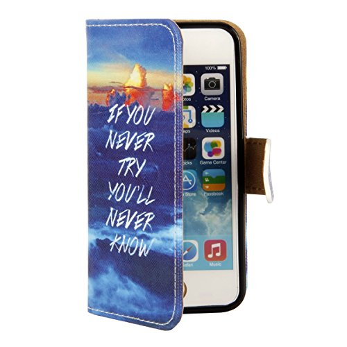 Hülle für iPhone SE, Tasche für iPhone 5 5S, Case Cover für iPhone 5 5S SE, ISAKEN Malerei Muster Folio PU Leder Flip Cover Brieftasche Geldbörse Wallet Case Ledertasche Handyhülle Tasche Case Schutzh Meer Text